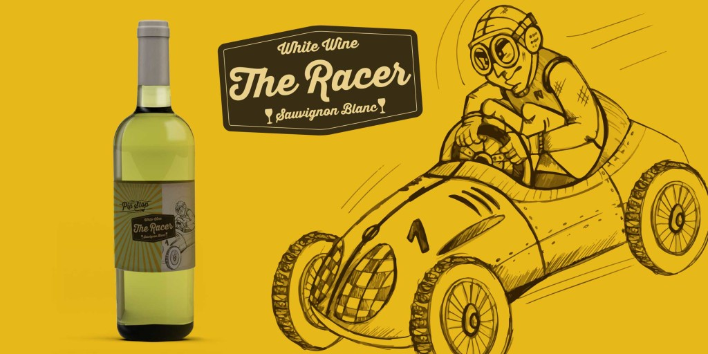 The Racer Character Wine Label