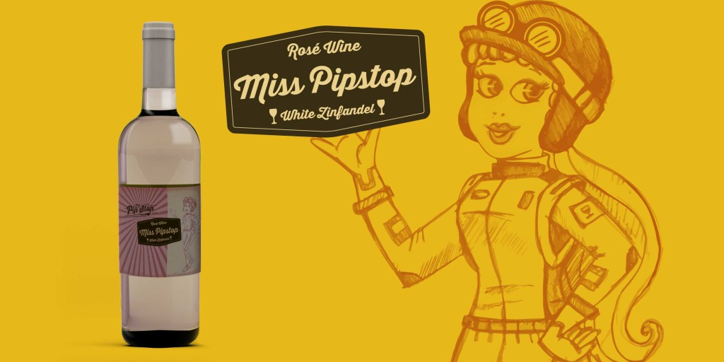 Miss Pip Stop Wine Label Illustration
