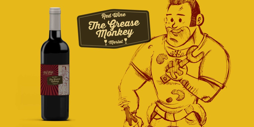 Grease Monkey Wine Label Design