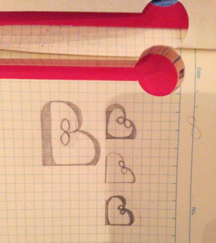 Initial logo design sketch